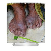Balinese Lady's Feet Shower Curtain
