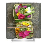 Balinese Offering Baskets Shower Curtain