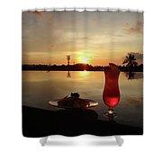 Balinese Orange Sunset With Drink Shower Curtain