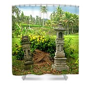 Balinese Rice Field Shrines Shower Curtain