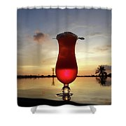 Balinese Sunset With Red Drink Shower Curtain