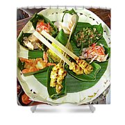 Balinese Traditional Satay Dinner Shower Curtain