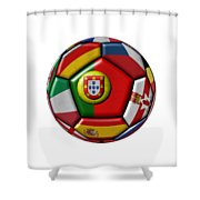 Ball With Flag Of Portugal In The Center Shower Curtain