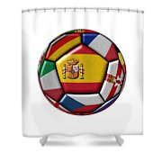 Ball With Flag Of Spain In The Center Shower Curtain