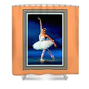 Ballerina On Stage L B With Alt. Decorative Ornate Printed Frame. Shower Curtain