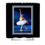 Ballerina On Stage L B With Decorative Ornate Printed Frame. Shower Curtain
