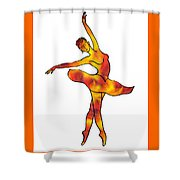 Ballerina Silhouette Dancing Fire Shower Curtain