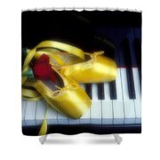 Ballet Shoes On Piano Keys Shower Curtain by Garry Gay