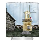 Ballinacourty Lighthouse At Waterford Ireland Shower Curtain
