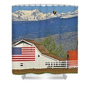 Balloon Barn And Mountains Shower Curtain
