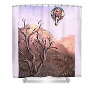 Balloon Over Desert Shower Curtain