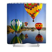 Balloon Reflections Shower Curtain by Mike  Dawson