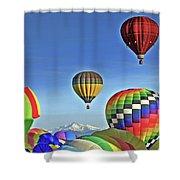 Ballooning Above Longs Peak Shower Curtain