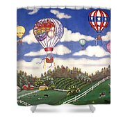 Ballooning Over The Country Shower Curtain