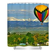 Ballooning Over The Rockies Shower Curtain by Scott Mahon