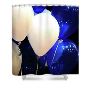 Balloons Of Blue And White Shower Curtain