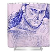 Ballpointpenportrait Shower Curtain