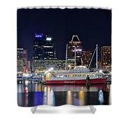 Baltimore Harbor At Night Shower Curtain