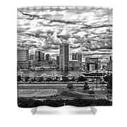 Baltimore Inner Harbor Dramatic Clouds Panorama In Black And White Shower Curtain