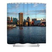 Baltimore Inner Harbor Sunrise Shower Curtain