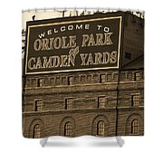 Baltimore Orioles Park At Camden Yards Sepia Shower Curtain