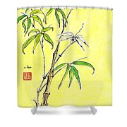 Bamboo And Dragonfly Shower Curtain
