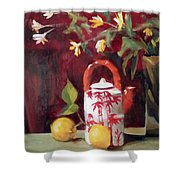 Bamboo Teapot With Lemons Shower Curtain