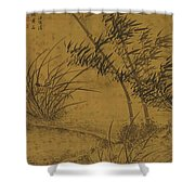 Bamboos And Orchids In The Wind Shower Curtain