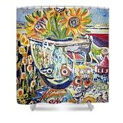 Band 4 Sunflowers Three Shower Curtain