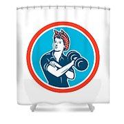 Bandana Woman Lifting Dumbbell Circle Retro Shower Curtain