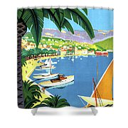 Bandol, French Riviera, Boats On Port Shower Curtain