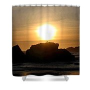 Bandon Beach Silhouette Shower Curtain