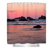 Bandon Beach Sunset Silhouette Shower Curtain