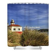Bandon Coquille River Lighthouse Shower Curtain