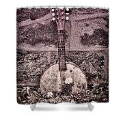 Banjo Mandolin On Garden Wall Shower Curtain by Bill Cannon