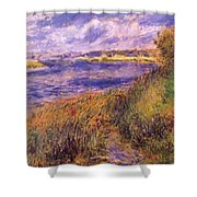 Banks Of The Seine At Champrosay Shower Curtain