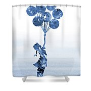 Banksy Balloons Girl Blue Shower Curtain
