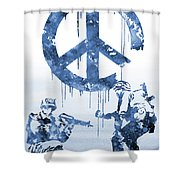 Banksy Soldiers-blue Shower Curtain