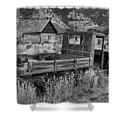 Bannack Extended Parking Black And White Shower Curtain