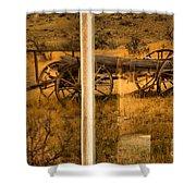 Bannack Wagon Reflections Shower Curtain