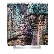 Banteay Srey Temple Bas Relief Details Shower Curtain