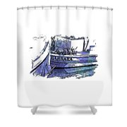 Barbara Berry Blues 3 Dimensional Shower Curtain