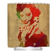 Barbara Stanwyck Watercolor Portrait Shower Curtain
