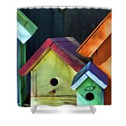 Barbara's Birdhouses Shower Curtain