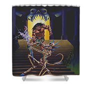Barbarian And Skeleton Wizard Shower Curtain