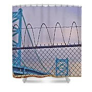 Barbed Wire Bridge Shower Curtain