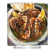 Barbequed Shrimp Shower Curtain by Dianne Parks