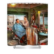 Barber - Getting A Trim 1942 - Side By Side Shower Curtain