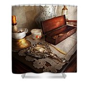 Barber - The Morning Ritual Shower Curtain by Mike Savad