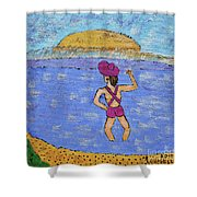 Barb's Beach Waving Shower Curtain